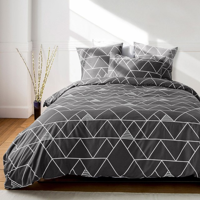 couette scandinave top mattrose housse de couette bicolore coton frise triangles scandinaves. Black Bedroom Furniture Sets. Home Design Ideas